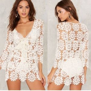 Lioness | White Crochet Cover Up Dress